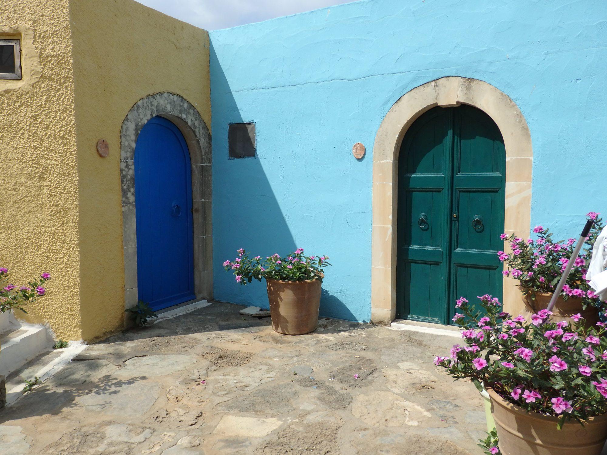 Doorways in Arolithos Traditional Cretan Village near Heraklion, Crete