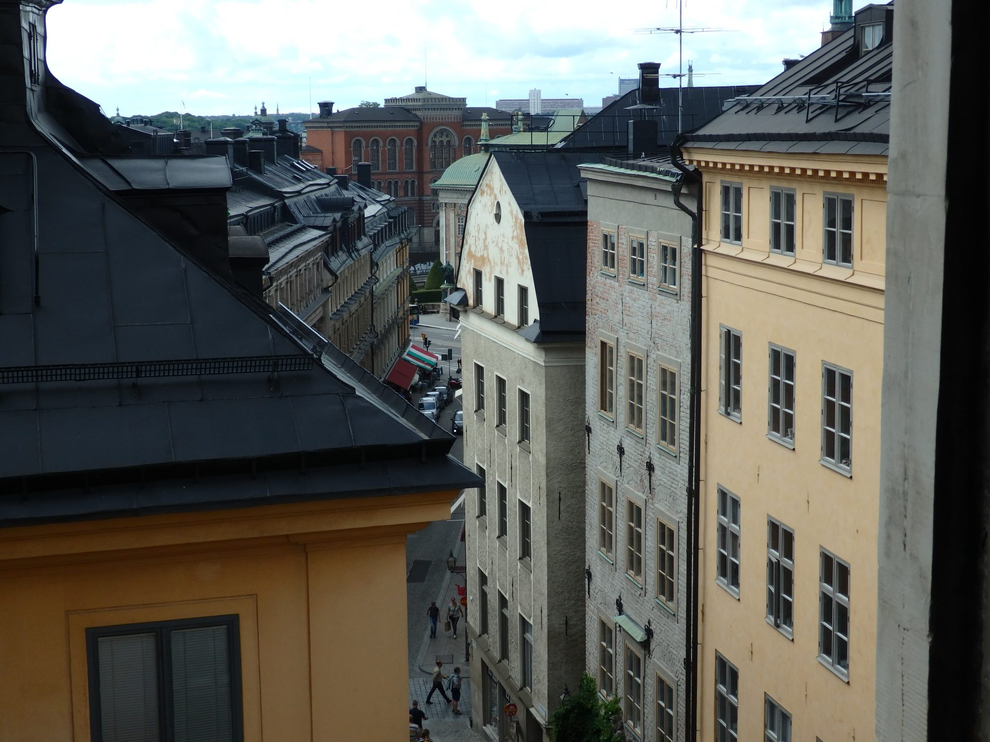 The view from partway up Storkyrkan tower, through a door with a handle on the outside. Stockholm.