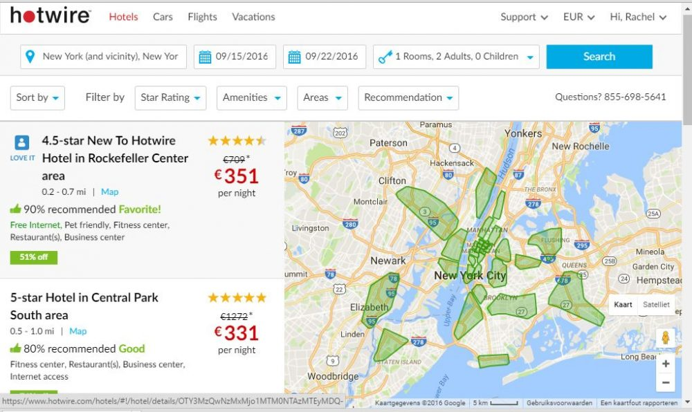 With just the date and city filled in, this is what I see on Hotwire.