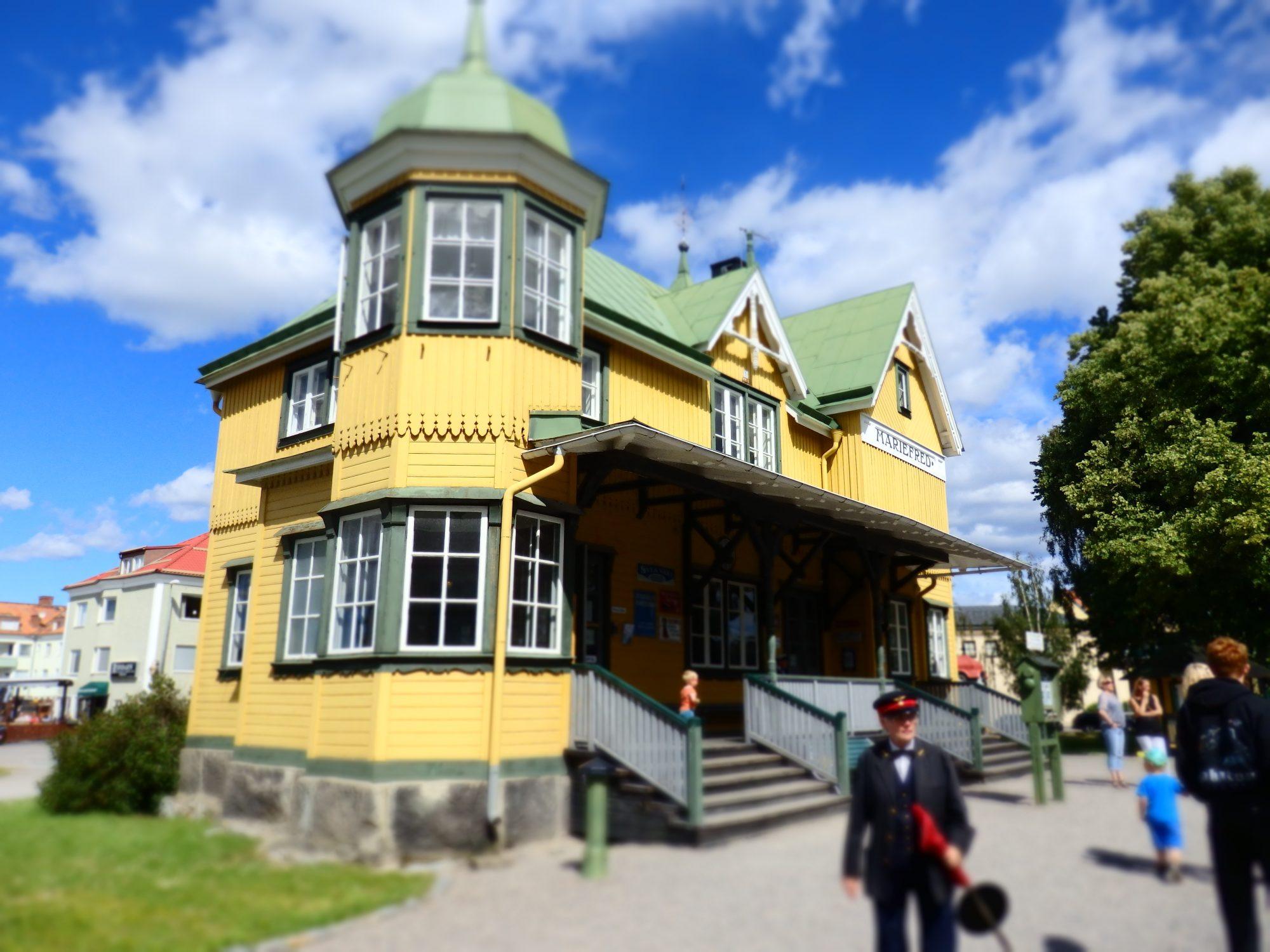 Mariefred steam train station in Sweden