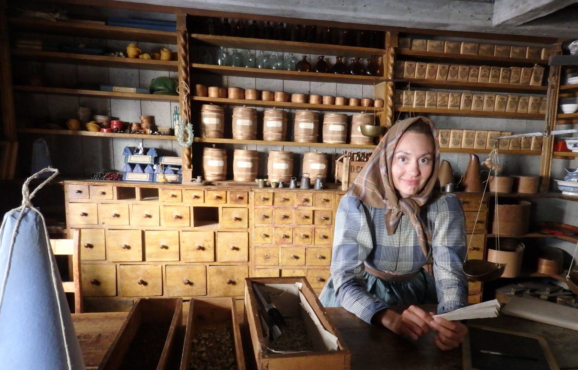 a spice shop, the precursor to the grocery store, at Skansen, Stockholm, Sweden