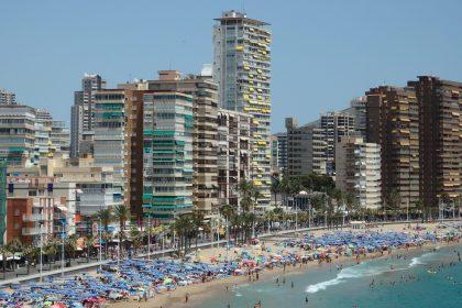 one part of Levante beach in Benidorm, Spain