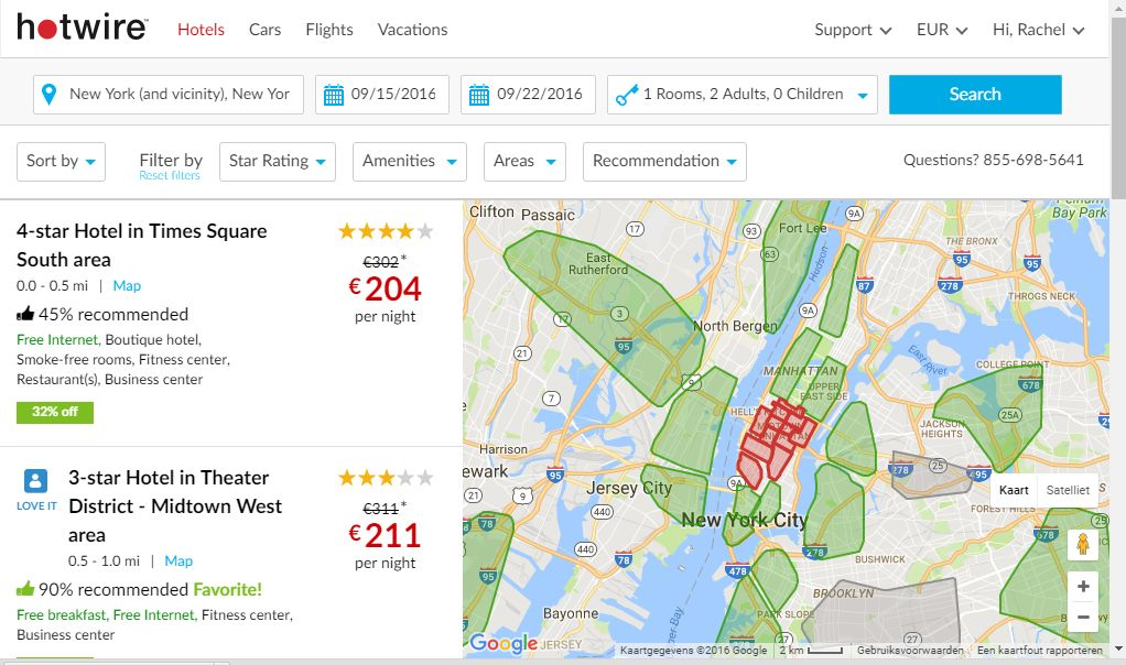 This is how the Hotwire page looks if I zoom in a bit to see Manhattan and then click on all the midtown areas.