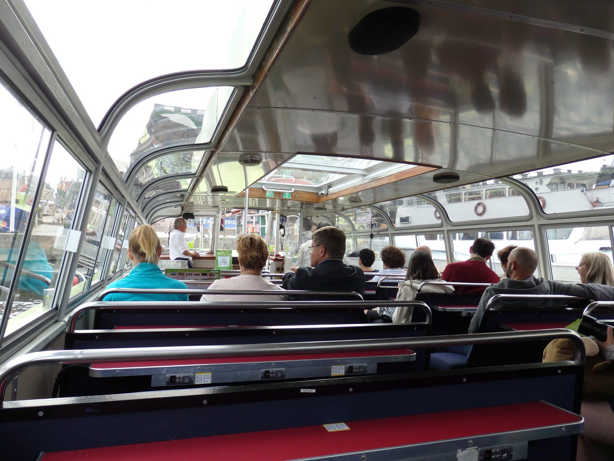 Inside a Hop On Hop Off boat
