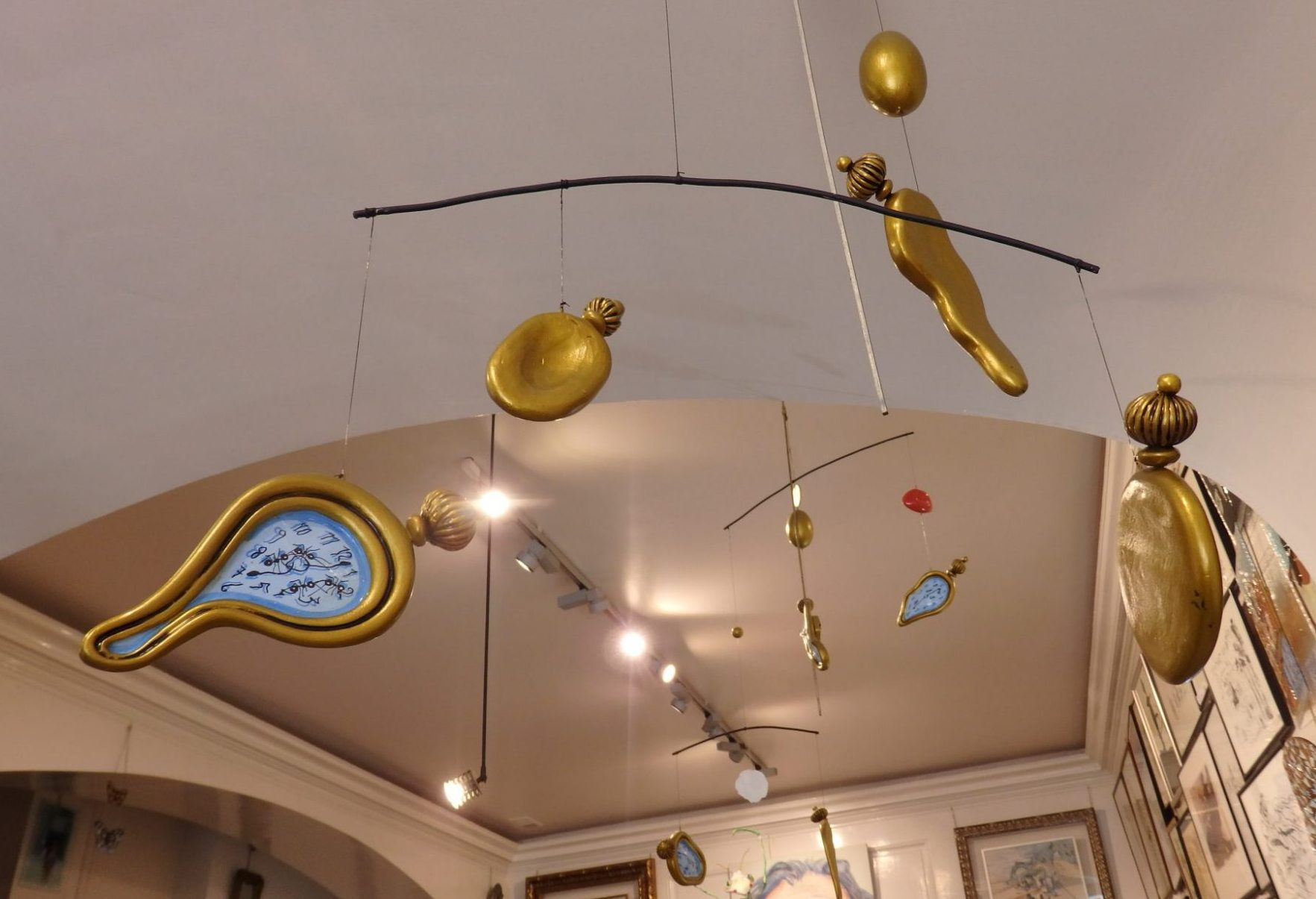 a Dali-themed mobile in the Surrealist Bookstore in Figueres, Spain