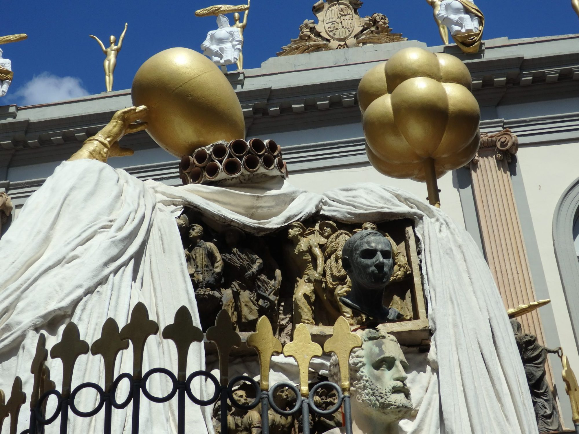 the upper portion of the Dali-designed monument to Francesc Pujols in Figueres, Spain