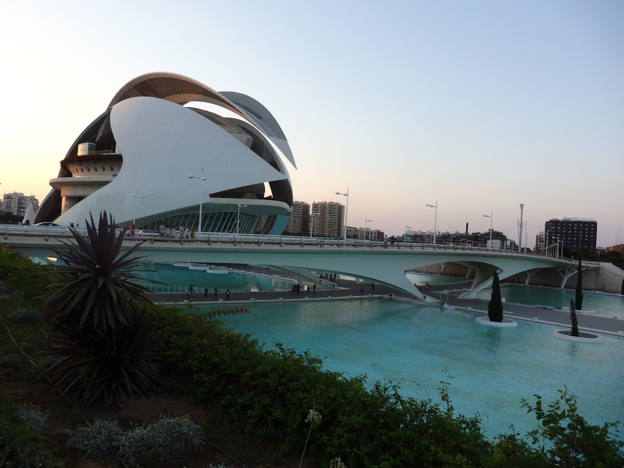 one of the buildings of the City of Arts and Sciences in Valencia, seen in passing from the car