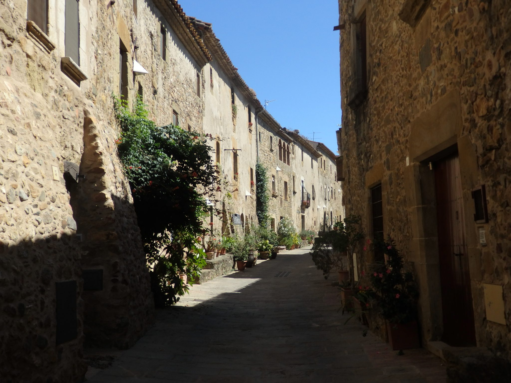 a row of ancient houses in Monells,, Baix Emporda, Spain