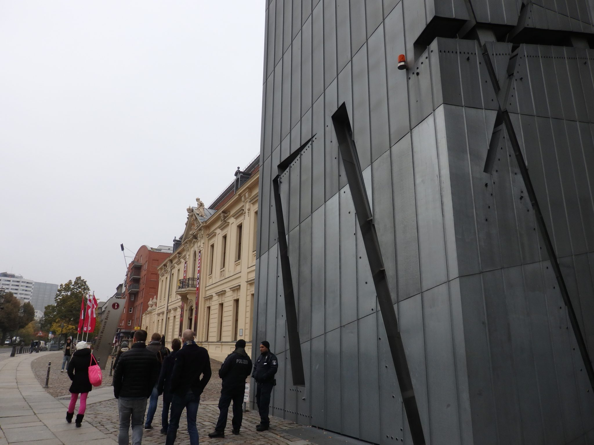 Here you can see a small segment of the new building and, beyond that, the old building, where the main entrance is. Jewish Museum Berlin