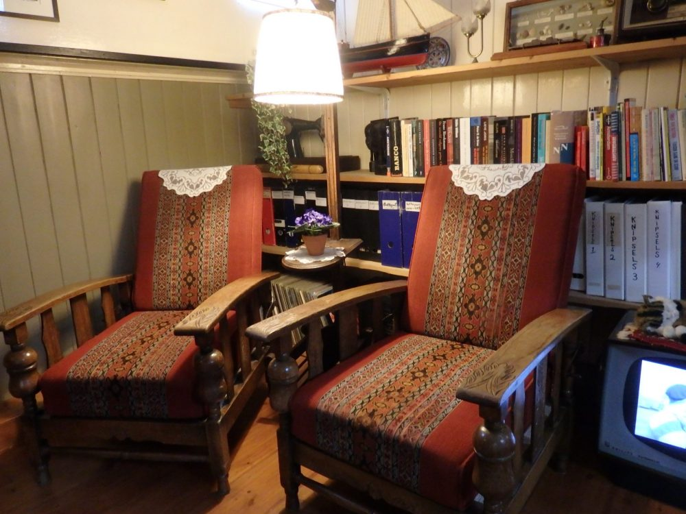 A comfortable corner of the living room in the Houseboat Museum