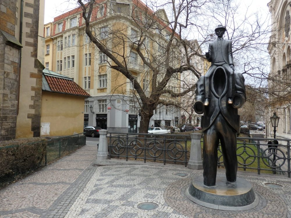A statue dedicated to Kafka stands outside the Spanish Synagogue in Prague.