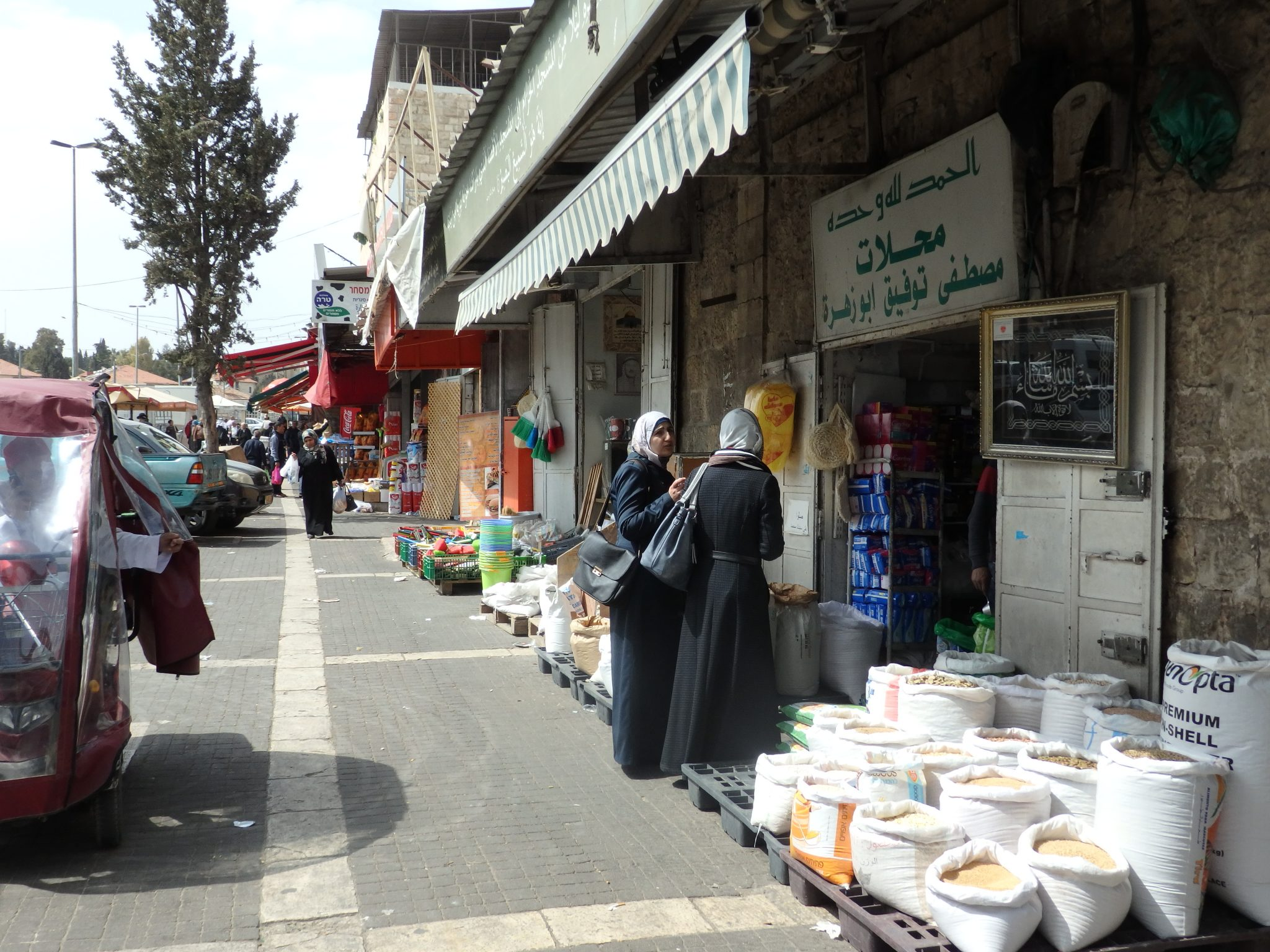 A shopping street in East Jerusalem on the route of my Bitemojo tour.