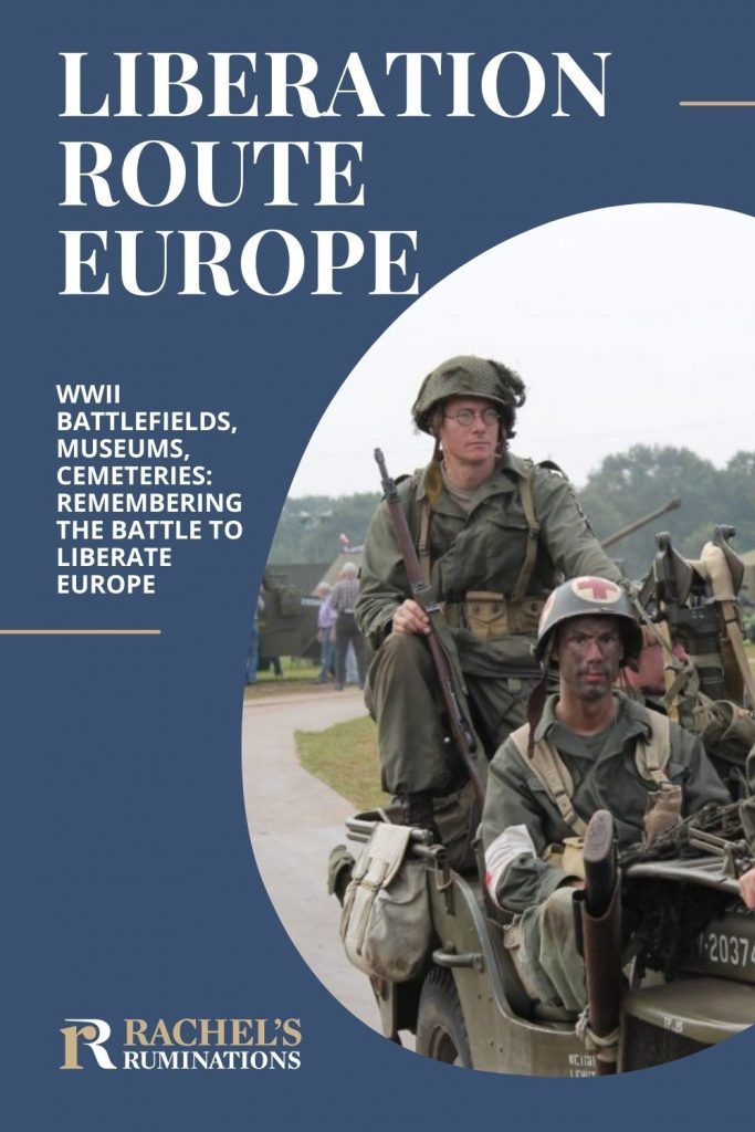 Liberation Route Europe: WWII battlefields, museums, cemeteries: remembering the battle to liberate Europe. Image: Soldiers in khaki uniforms and camoflage paint sit on a jeep