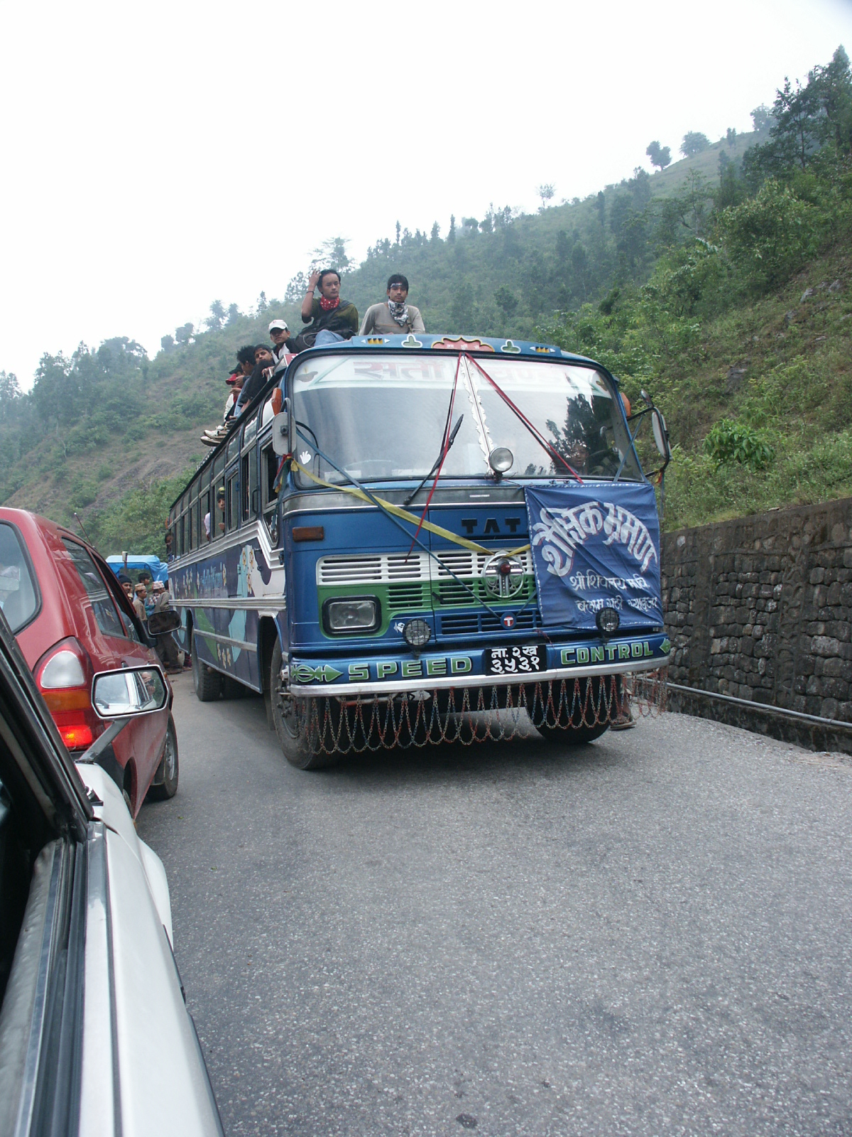 "Albert took this photo on his earlier trip to Nepal, on the same ""highway"" to Pokhara: Surviving the Roads in Nepal"