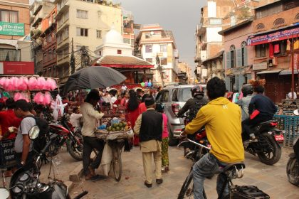 In the center of the Kathmandu, everyone vies for space.