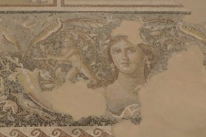 "This image, part of a larger mosaic in the Dionysus House, is called ""the Mona Lisa of Zippori"" according to the park's leaflet."