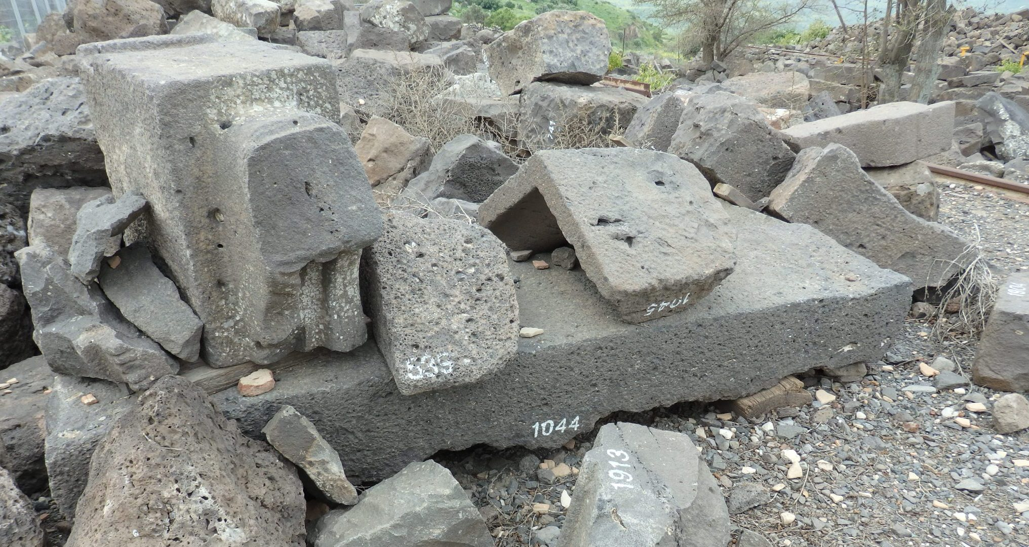 some of a very large field of catalogued stones at Um el Kanatir in the Golan Heights