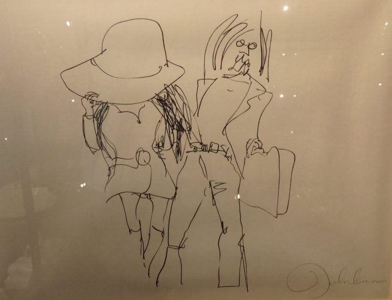 A drawing by John Lennon of himself with Yoko Ono, at the Erotic Museum Amsterdam