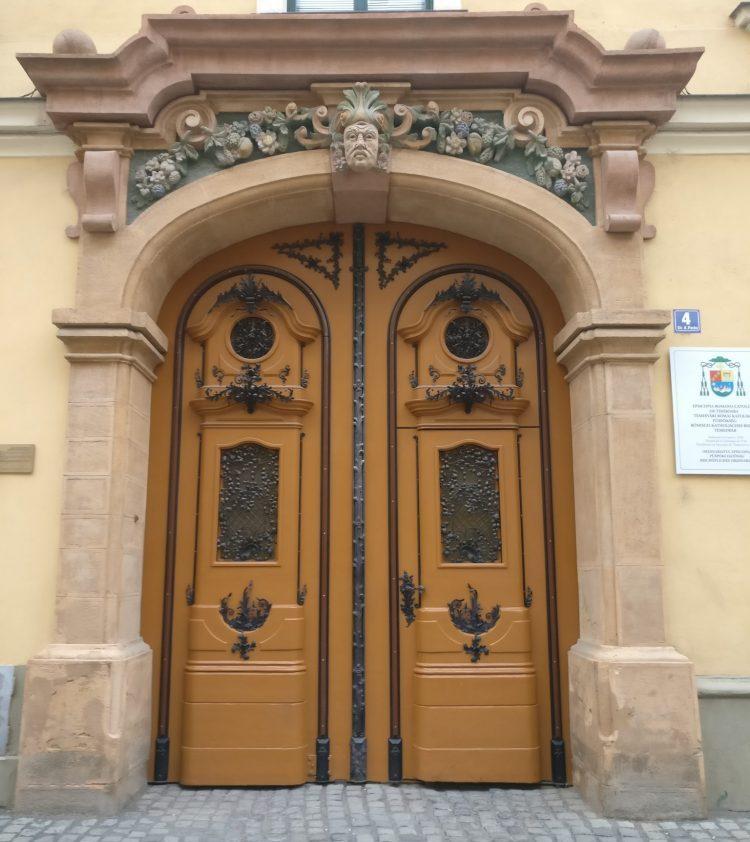 an ornate doorway in Timisoara, Romania. Timisoara photo essay.