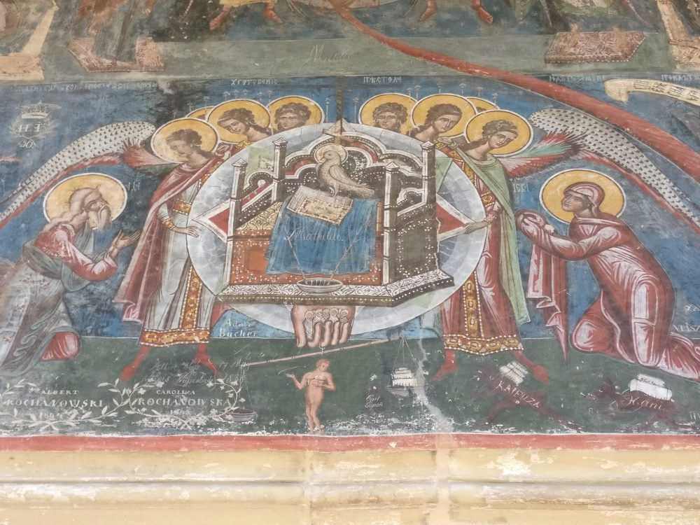 A richly painted fresco inside Moldoviţa, one of the painted churches of Moldavia.