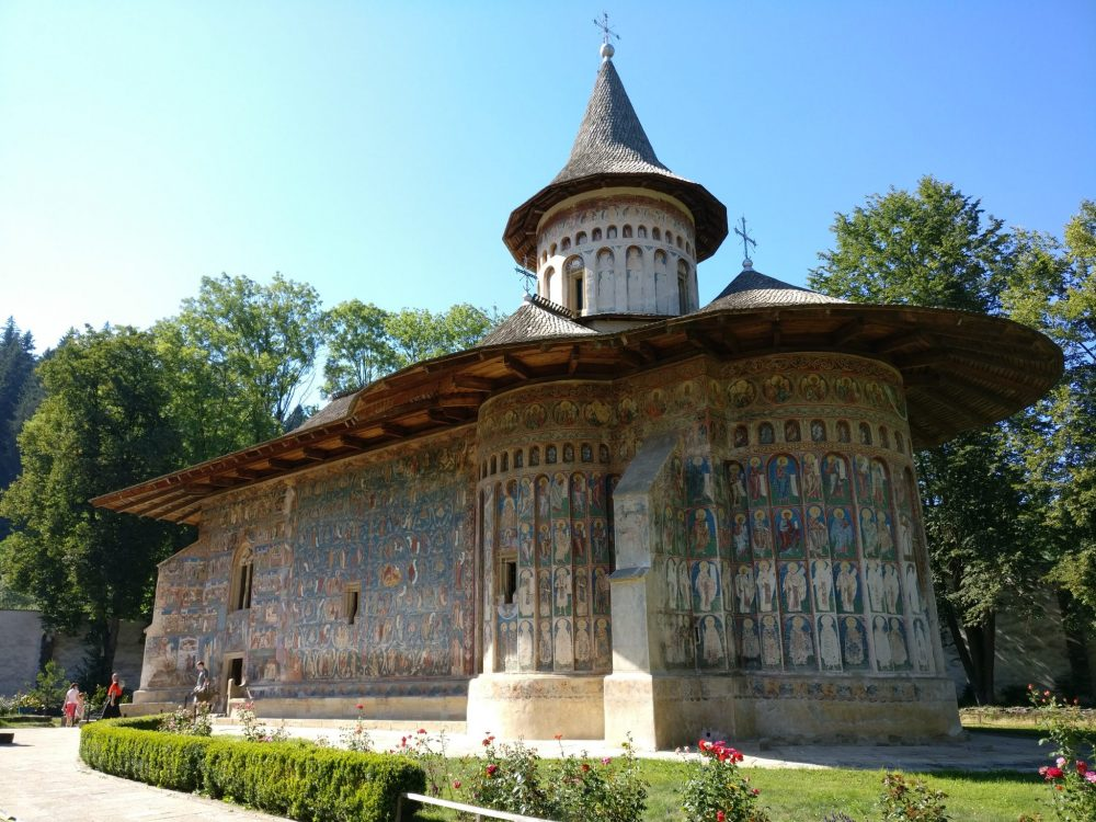The church at Voronet Monastery. Images of saints and Bible stories cover its walls completely. The Spectacular Painted Churches of Moldavia