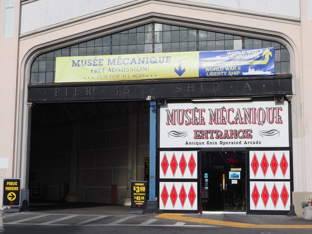 Streetside entrance to the Musee Mecanique in San Francisco