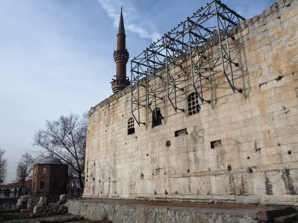 Side wall of the Temple of Augustus and Rome, with the minaret from the mosque just behind it. One Day in Ankara.