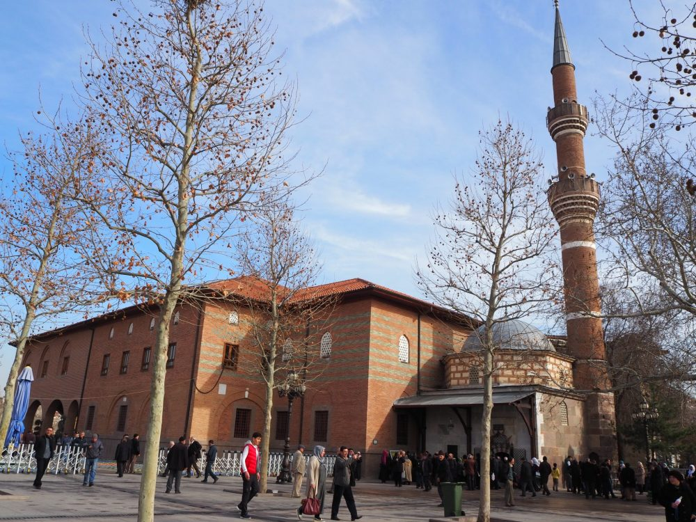 Hacı Bayram mosque in Ankara, Turkey. The small section under the minaret is the mausoleum, and looks older than the rest. One Day in Ankara, Turkey.