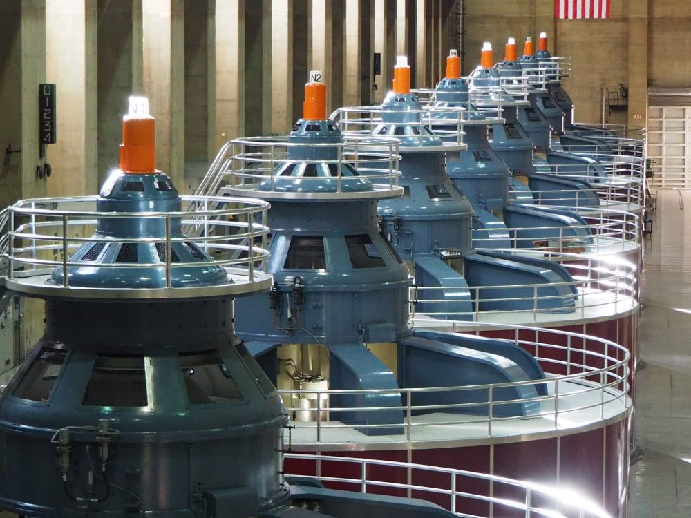 a row of generators in Hoover Dam