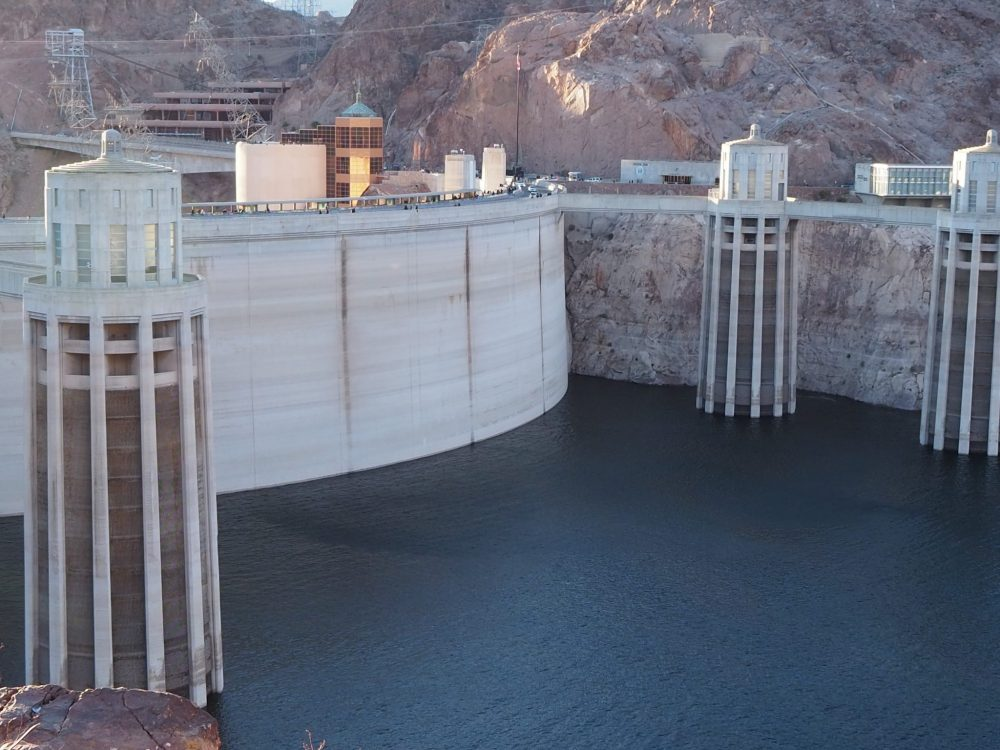 The Lake Mead side of Hoover Dam. You can see that the level of the lake was quite low when we visited. The towers on either side are the intake towers, which feed the water to the generators.