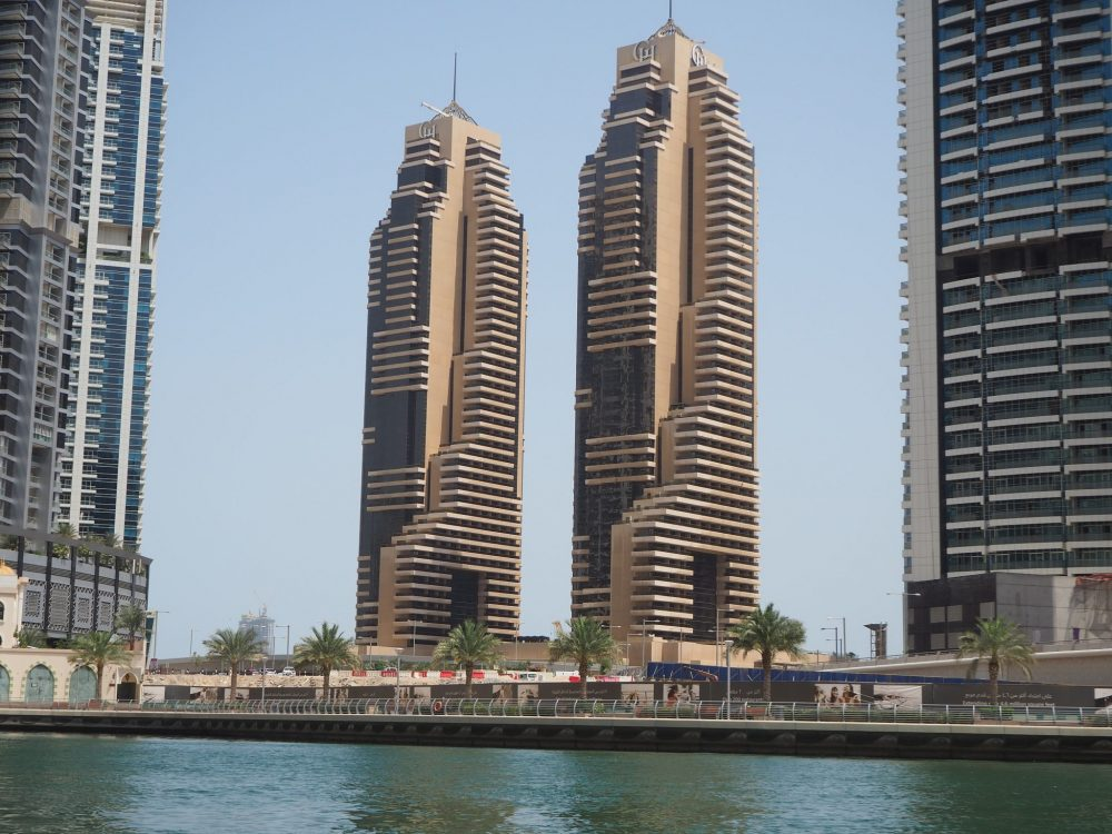 According to Nuwan, these two buildings in the Dubai Marina are meant to resemble ancient Egyptian figures.