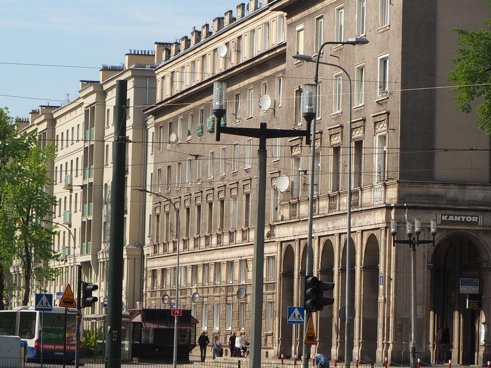 Buildings on a wide boulevard in Nowa Huta.