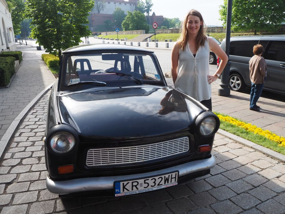 Goshka with the Trabant, who would together take us on our Communism tour of Nowa Huta: a Krakow tour with a twist