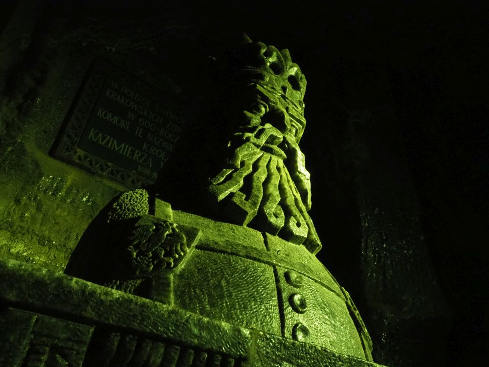 This sculpture in rock salt at Wieliczka Krakow salt mine represents King Casimir III the Great, who ruled Poland from 1333 to 1370.