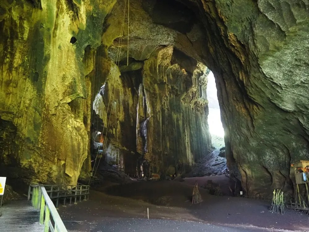 A view into Gomantong Cave. You can see the boardwalk walkway on the left.