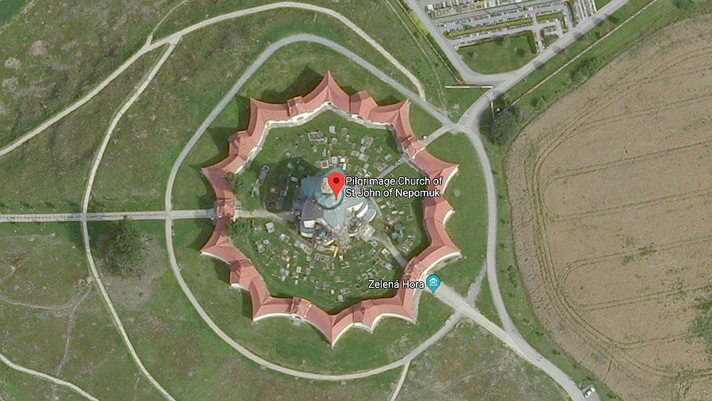 This view, thanks to Google maps, shows the unusual shape of the cloisters surrounding the church. The Pilgrimage Church of St. John of Nepomuk is one of the UNESCO sites in the Czech Republic