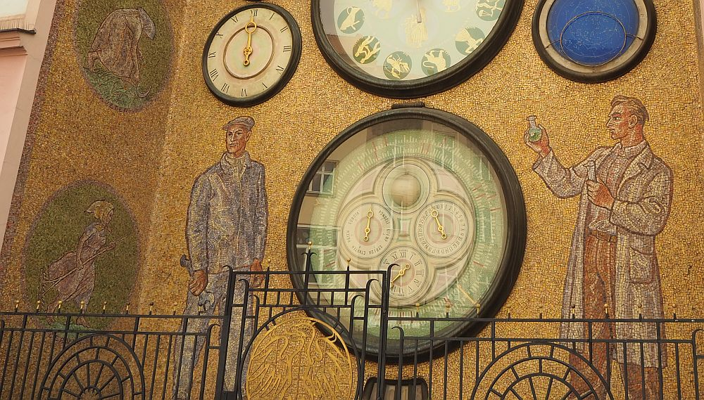 These large figures on the clock in Olomouc represent ideal socialist workers.