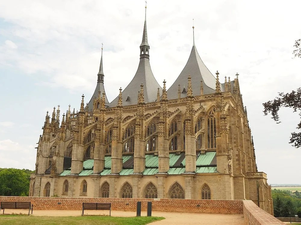 This side view of St. Barbara's Cathedral clearly shows the late Gothic influences on the architecture. Part of the Kutna Hora UNESCO site.