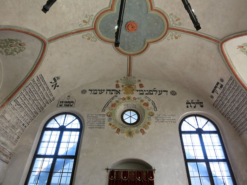 The inside of the Rear Synagogue in Trebic, Czech Republic. You can see the top of the ark of the torah at the bottom of the photo.