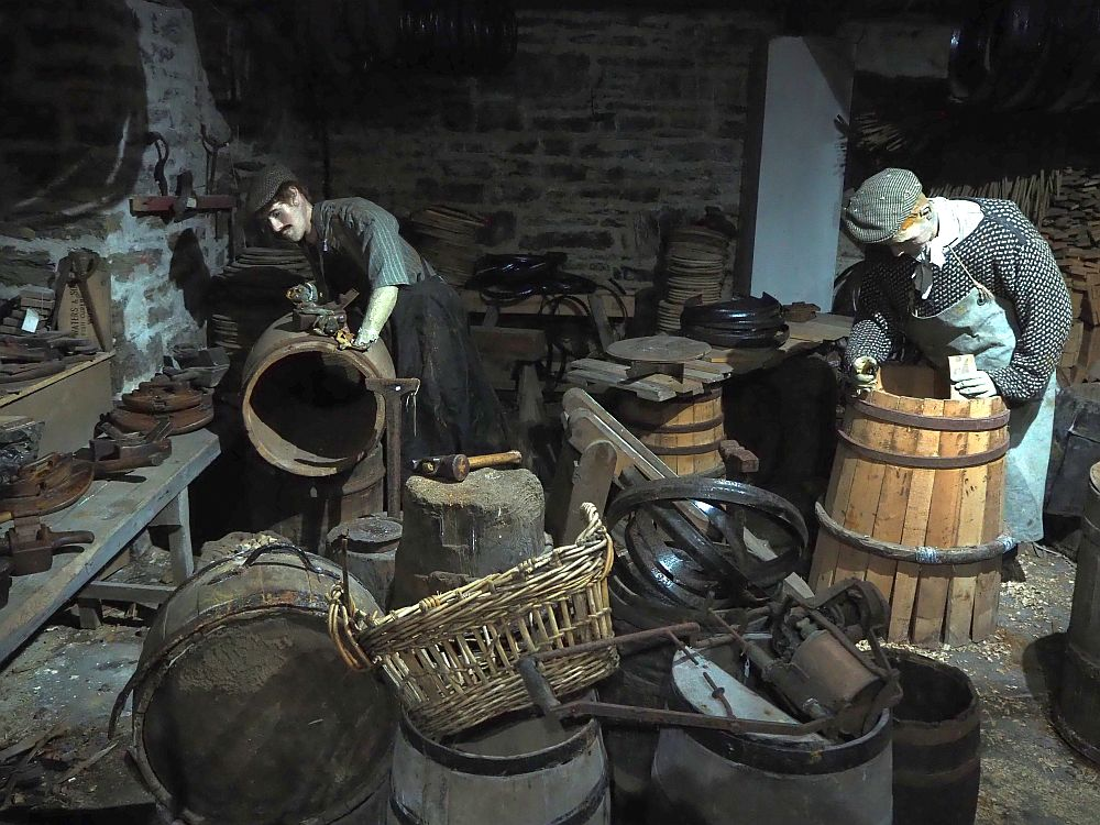 The Wick Heritage Museum is a maze of rooms demonstrating living and working in Wick. This is a reconstruction of a cooper shop, a very important industry because the herring caught here was salted and shipped in barrels.