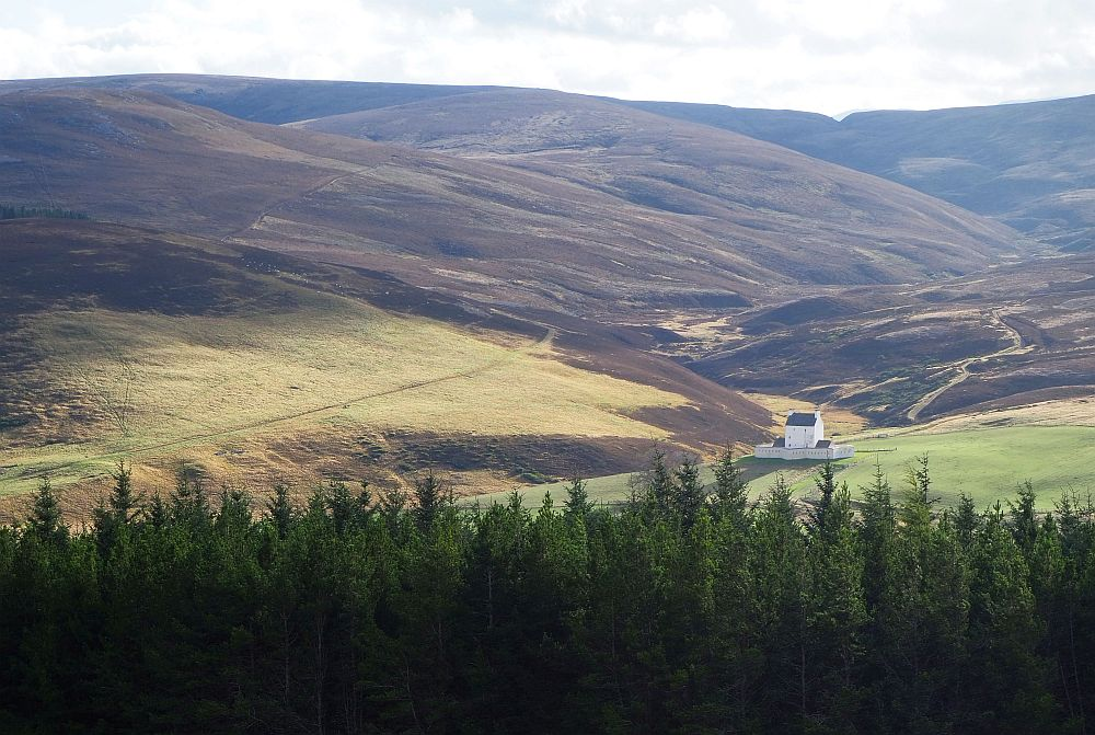 A distant view of Corgarff Castle in Aberdeenshire
