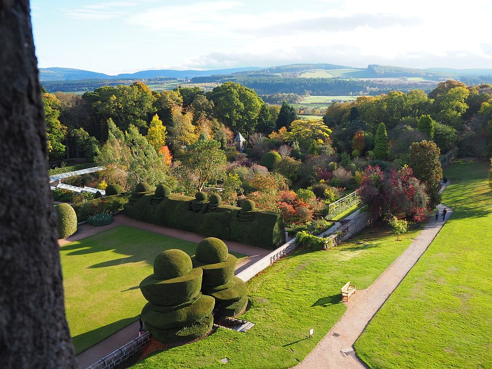 A view of Crathes Castle's garden in the autumn. You can see some of the topiary in this photo as well.
