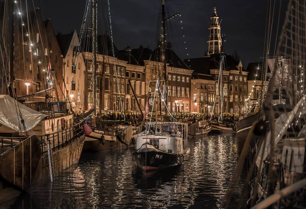 Winterwelvaart, with the boats all lit up at night.
