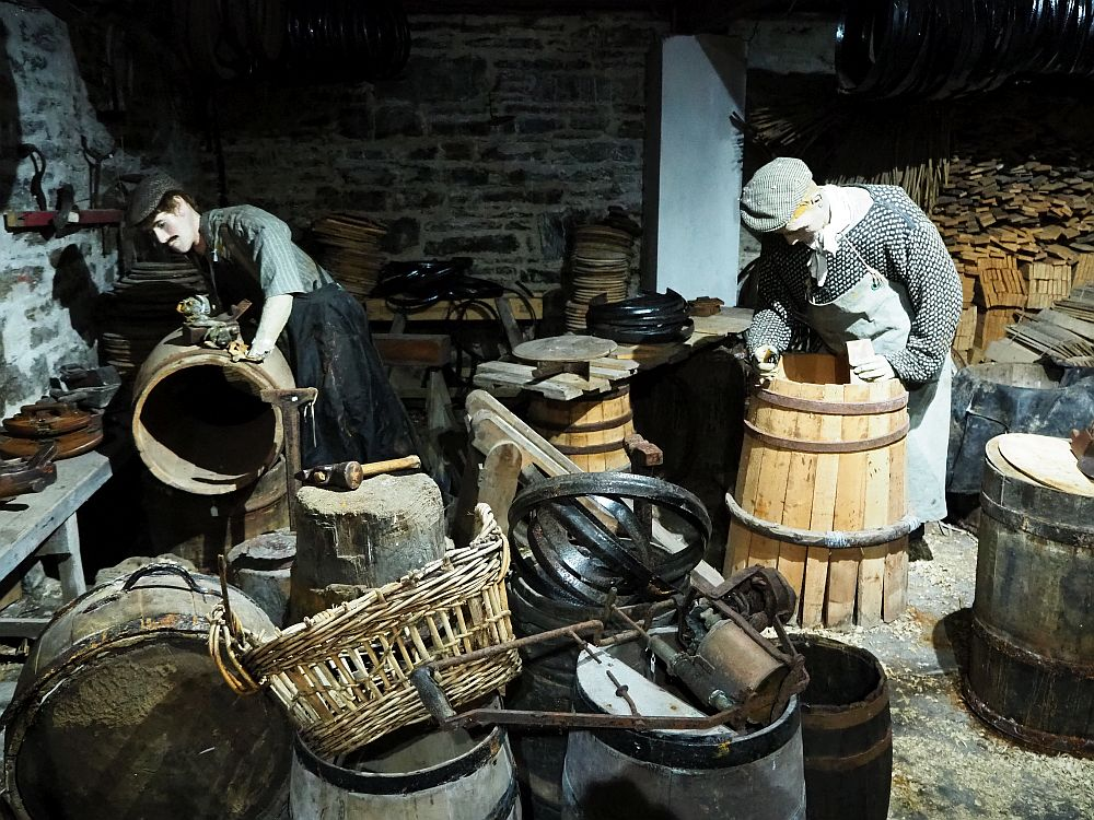 A simulated cooperage in the Wick Heritage Museum.