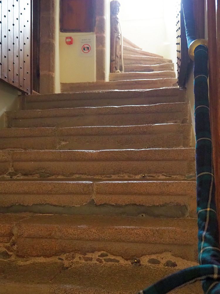the stairway at Craigievar Castle, as seen from the ground floor where it starts.