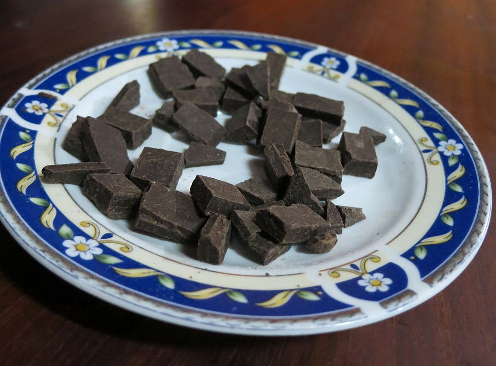 The Chocolate Museum's demonstrations include tastings: a plate of dark chocolate pieces.