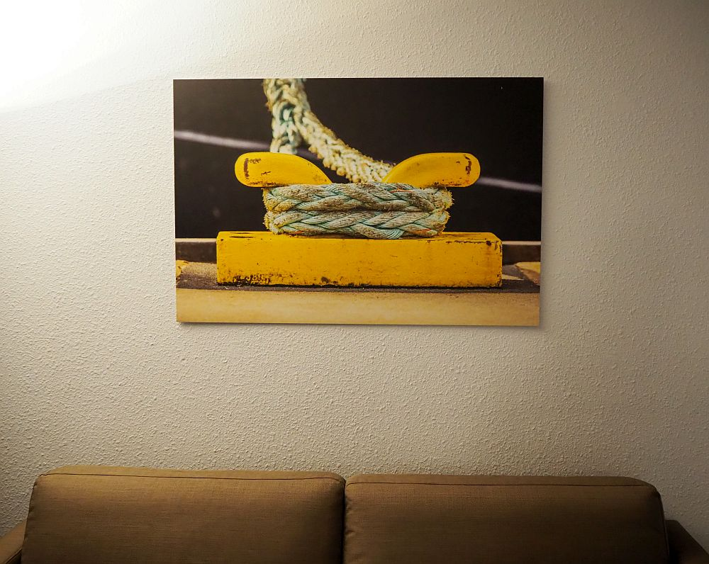 The artwork above the sofa shows a close-up of a rope tied to a bright yellow cleat.