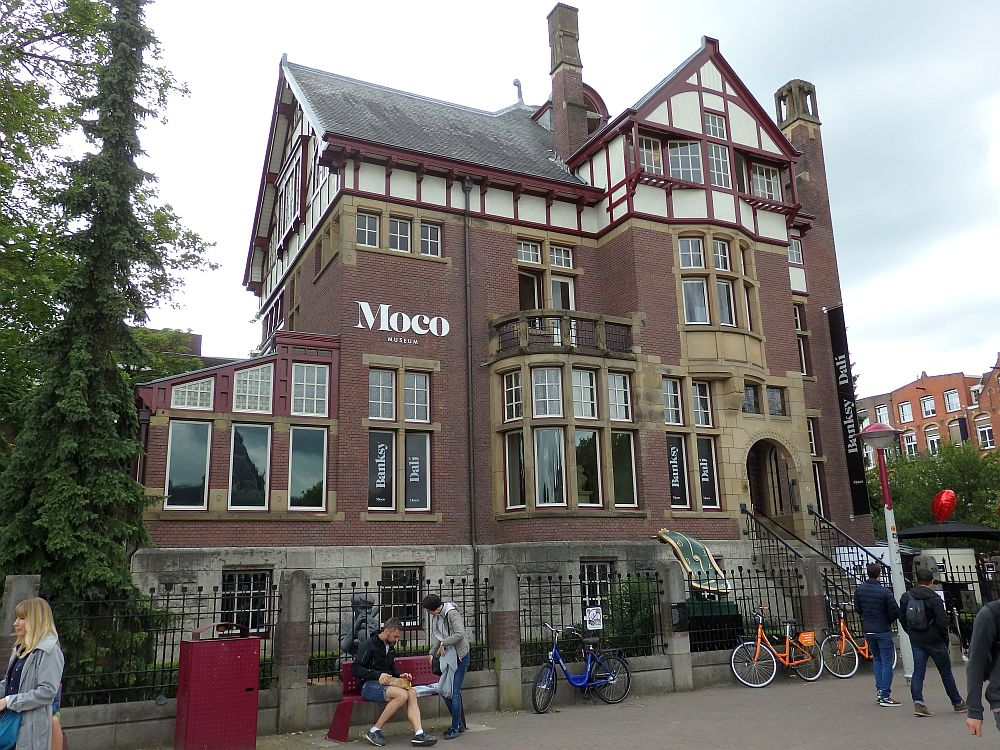 The Moco Museum in Amsterdam is in what used to be a large house. It's a bit of a mishmash of styles, red brick with concrete around the windows and some half-tudor elements on the top floor.