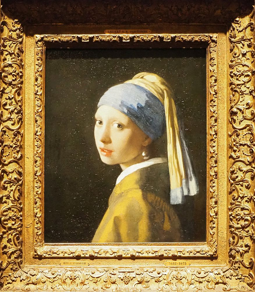 The girl is shown shoulders up. She is facing to the left, but her face is turned toward the viewer, so it's visible as a 3/4 view. the light comes from the side and shines off her bottom lip and the pearl. She wears a turban and robe.