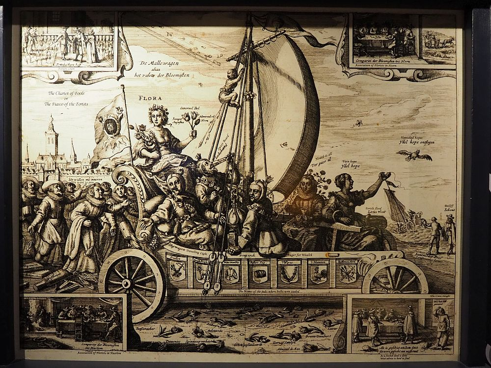 The drawing from the Amsterdam Tulip Museum is in black and white. Tulips litter the ground beside the chariot. A crowd follows the chariot.